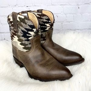 Frye Billy Navajo Blanket Wool Leather Ankle Boots
